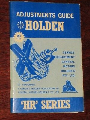 scarce HOLDEN HR Series ADJUSTMENTS GUIDE illust. 44 pages+card covers FREE POST