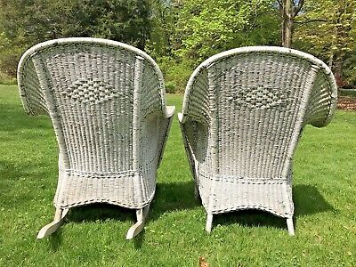 Original Pair 1920s Antique Patio Wicker Chair And Rocker Rocking Chair Set
