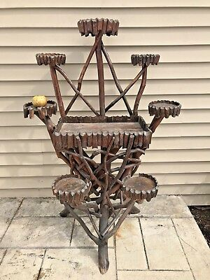 Antique Adirondack Old Hickory Twig Black Forest Plant Stand