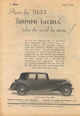 Triumph 'Gloria' saloon motor car - magazine advert from 1934