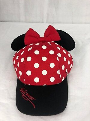 MINNIE MOUSE Walt Disney WORLD Parks BASEBALL Cap EARS Bow YOUTH Hat RED Dots