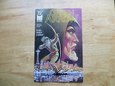 1988 Vintage Dc Comics Green Arrow # 1 Signed Mike Grell,  With Poa