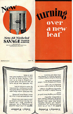1932 Advertising Brochure All Nickeled Savage Arms Corporation Washer + Dryer