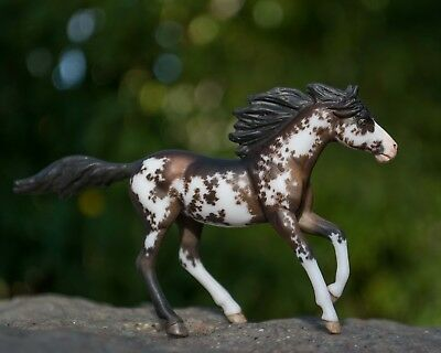 Custom Etched Stablemate Breyer Model Horse, Flashy Bay Sabiano Overo Mare!