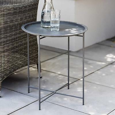 STEEL OUTDOOR BISTRO TABLE Metal Patio Set Drinks Removable Tray Furniture Grey