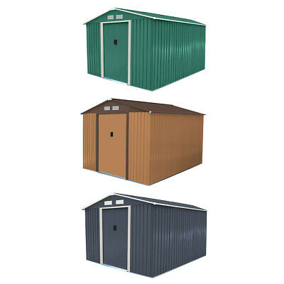 Charles Bentley 8ft x 10ft Metal Garden Shed Outdoor Storage - Brown / Green