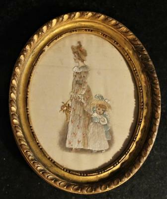 Enchanting  Regency Small Silk Embroidered Picture of Mother & Child C 1800+
