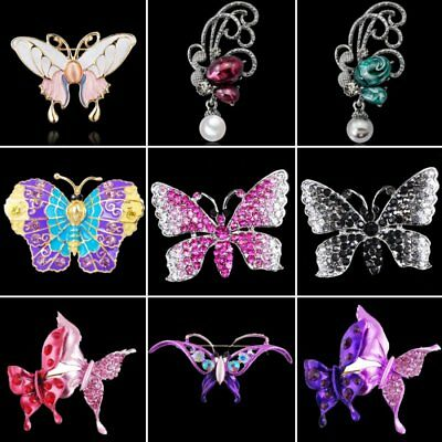 Fashion Butterfly Women Rhinestone Crystal Pearl Breastpin Brooch Pin Jewelry