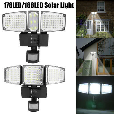 100/188 LED Solar PIR Sensor Floodlight Outdoor Garden Security Lamp Night Light