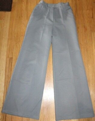 True Vintage 70s Size 11/12 Gray Bell Bottom Pants Polyester USA Union Made