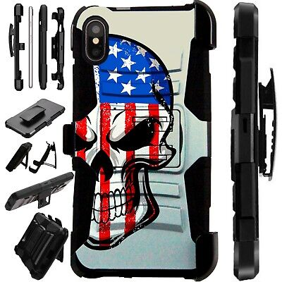 Lux-Guard For iPhone 6/7/8 PLUS/X/XR/XS Max Phone Case Cover US SKULL HALF FACE