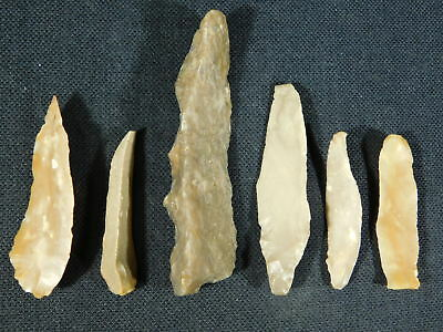Lot of SIX! 9,000 to 4,000 Year Old Lithic Arifacts! Bir Gandus Morocco 48.28gr