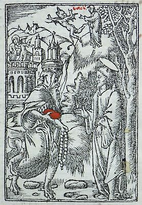 1541 Pierre REGNAULT - Rubricated woodcut leaf - Christ in the Wilderness