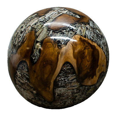 Teak Wood and Clear Resin Lucite 11 Inch Ball Wood Rare Accent BLR23C-06