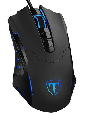 Pictek Ergonomic Gaming Mouse Wired RGB LED Light BLUE 7 Programmable Buttons
