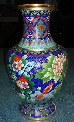 """15"""" Vintage Chinese Cloisonne Vase Floral Design With Blue And Red Birds - Gift!"""