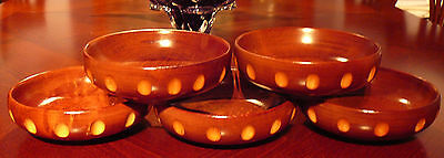 5 Vintage Baribocraft Notched Wood Teak Salad Bowls Atomic