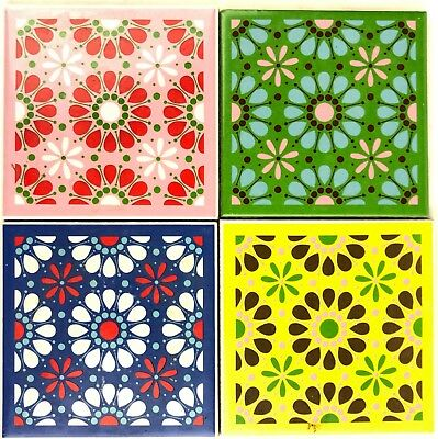 """Vtg Set 4 Shunxing Colorful Tiles Flowers Green Blue Pink Yellow 3.75"""" Square"""