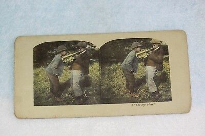 """Rare Black Americana Color Stereoscope View Card """"Let me Blow"""""""