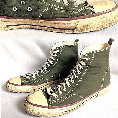 Vintage 1980s High Top Canvas Sneakers Olive Green EB 12