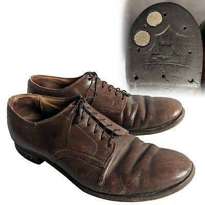 Vintage 1940s brown leather 6 eyelet blucher shoe 8.5 8-1/2 Cats Paw Heels