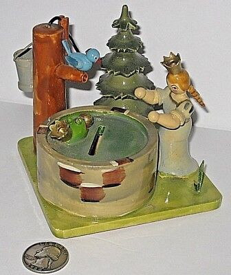 A+ Vintage Hedo W. Germany Coin Bank Princess Well Frog Prince Wood Rare Forest