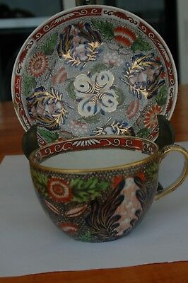 Antique Old Josiah Wedgwood Cup & Saucer Colorful Gold Circa 1822, 4""