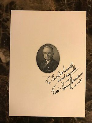 US President Harry Truman Autograph Signature Authenticated NR