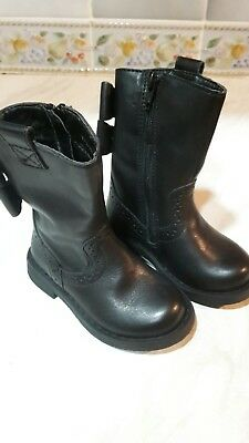Girls M&S Black Leather Zipped Boots, Size UK 4, EU 20 1/2