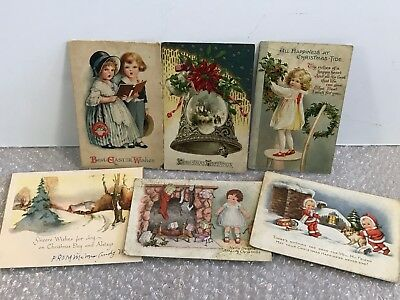* Antique Early 1900's Christmas And Easter Postcards Lot