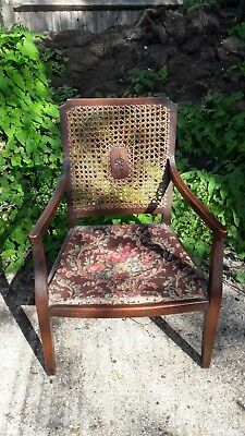 Victorian nursing chair - Bergere wicker back - solid mahogany