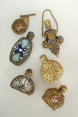 Fine LOT of 6 Filigree & Rhinestone Miniature Perfume Bottles