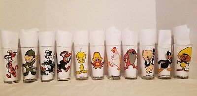 1973 & 1976  Pepsi Collector Series Looney Tunes Lot Of 11 Glasses Mint !!!
