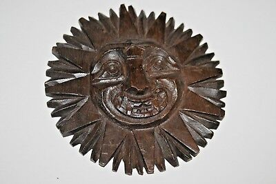 Antique Vintage Hand Carved Solid Oak Wood Weird Face Trim Architectural Wooden