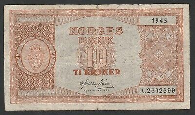 10 Kroner From Norway 1945