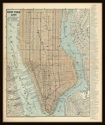 Street Map Of New York City.Vintage City Street Map New York City Southern Part Circa 1900