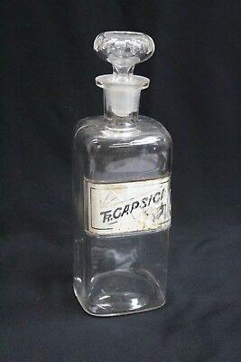 Antique Apothecary Bottle WT & Co 1889 Tr. Capsici Clear Glass