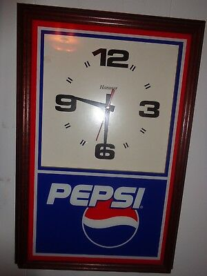 """Pepsi Clock With Wooden Frame & Glass Front 18 1/4"""" X 12"""" X 2"""" New Time Piece"""