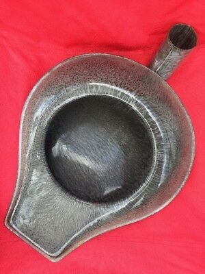 Antique Gray  Granite ware Bed Pan Urinal Pot Grey Speckled Vintage Chamber