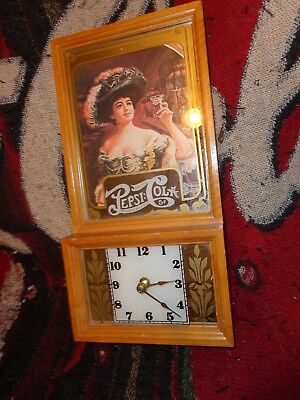 """Pepsi Clock With Wooden Frame & Mirrored Glass Front  13 1/4"""" X 6 3/4"""" X 2 1/8"""""""