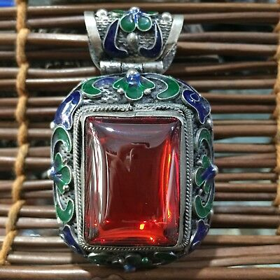 Rare Collectible Cloisonne Inlay Red Jade Carve Flowers Wire Inlay Old Pendant