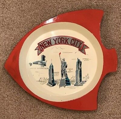 Vintage Lacquerware NEW YORK CITY Landmarks Fish Shaped Serving Tray RARE