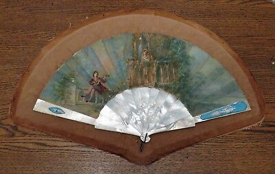 AMAZING Antique Large French Painted Hand Fan, MOP Sticks, Inlaid Guards VGC!