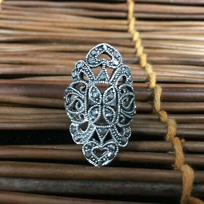 Ancient Rare Chinese Collectible Old Tibet Silver Handwork Heart Shape NO.7 Ring