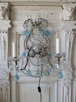 OMG Old Vintage SCONCE WALL LIGHT DRIPPING Aqua CRYSTALS Macaroni Beaded Swags
