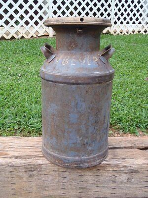 """Vintage Antique Follansbee West Virginia 20"""" MILK CAN CONTAINER with LID Signed"""