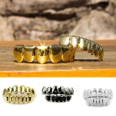 Custom Fit Silver Gold Plated Hip Hop Teeth Grillz Caps Top & Bottom Grill Set