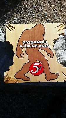 Sasquatch Bigfoot nature mountains trees hand made painted sign funny wooden