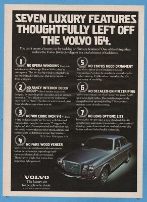 1975 Volvo 164 Seven luxury features thoughtfully left off vintage car photo ad