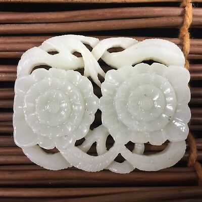 Chinese Collectible Old Hetian Jade Handwork Carve Twins Flower Pendant Statue